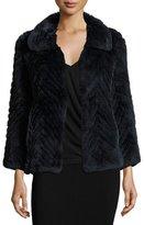 Diane von Furstenberg Chevron-Patterned Rabbit Fur Swing Coat, Navy