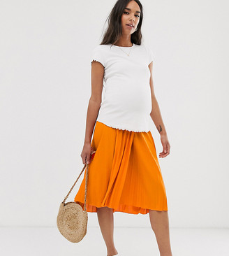 ASOS DESIGN Maternity under the bump pleated midi skirt