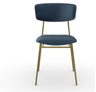 Calligaris Fifties Leather Upholstered Side Chair Frame Color: Polished Brass, Upholstery Color: Ocean Blue Venice