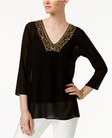 MICHAEL Michael Kors Embellished-Neck Top