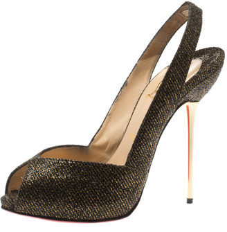 Christian Louboutin Black And Gold Glitter Fabric Peep Toe Slingback Sandals Size 38.5