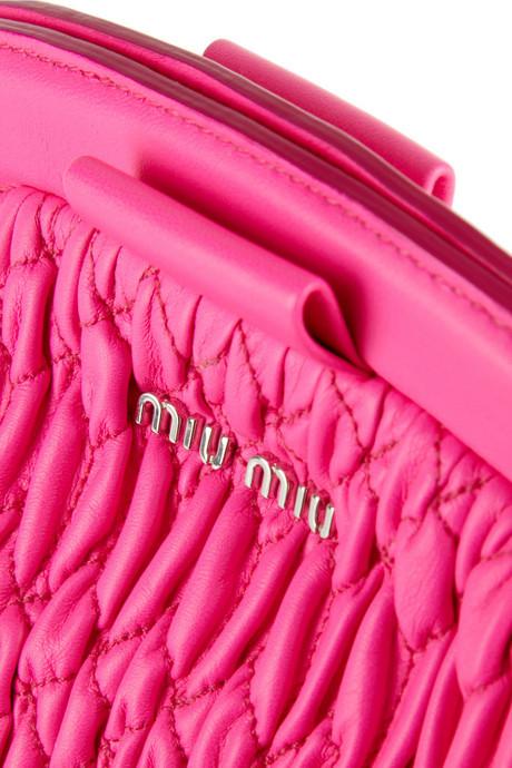 Miu Miu Neon matelassé leather clutch