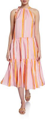 Club Monaco Amirra Tiered High-Neck Striped Dress