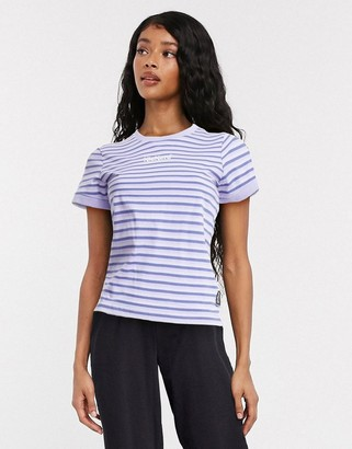 Kickers shrunken t-shirt with embroidery in retro stripe