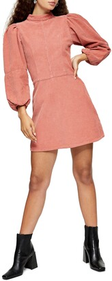 Topshop Long Sleeve Corduroy Babydoll Minidress