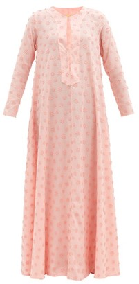 Dodo Bar Or Nili Floral-applique Cotton Maxi Tunic Dress - Pink