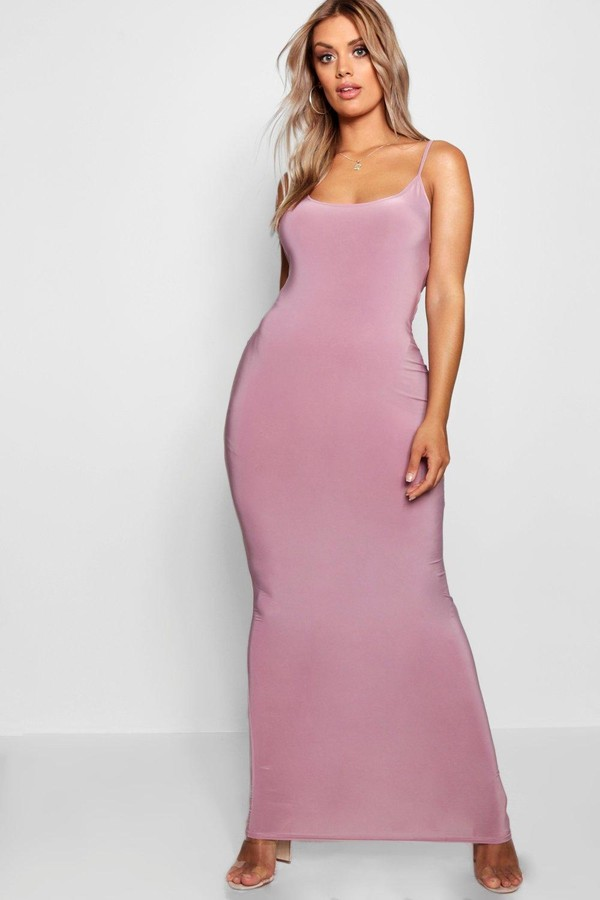 Thumbnail for your product : boohoo Plus Slinky Strappy Maxi Dress