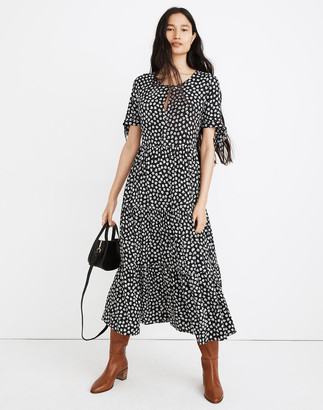 Madewell Tie-Sleeve Tiered Midi Dress in Woodcut Flowers