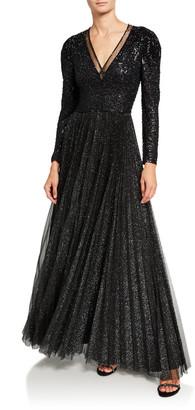 Jenny Packham Shimmer Tulle Crisscross Gown