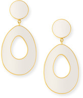 Dina Mackney Mother-of-Pearl/White Ceramic Door Knocker Earrings