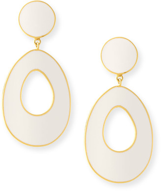 Dina Mackney Mother-of-Pearl/White Ceramic Door Knocker Earrings