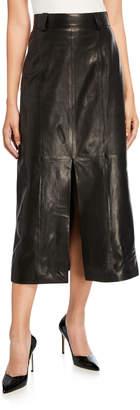Carmen March Leather Slit-Front Skirt