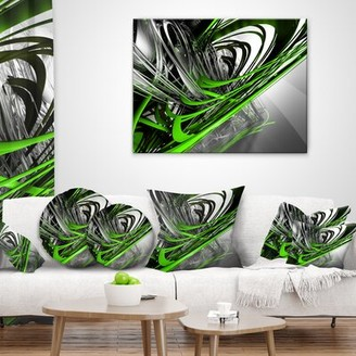 """East Urban Home Abstract Fractal 3D Stripes Throw Pillow Size: 16"""" x 16"""", Product Type: Throw Pillow"""