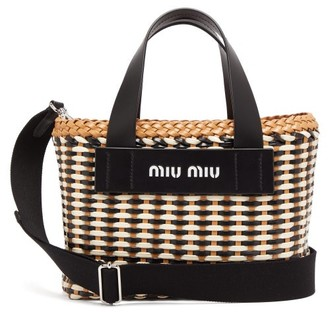Miu Miu Logo-embossed Woven-leather Handbag - Womens - Black Multi