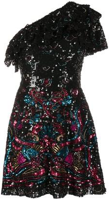 ZUHAIR MURAD Sequinned One-Shoulder Mini Dress