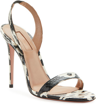 Aquazzura So Nude Kilim Python Snakeskin Sandals