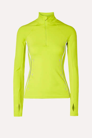 Reebok x Victoria Beckham Neon Mesh-trimmed Stretch Jacket - Lime green