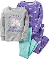 Carter's Baby Girls' 4-Pc. Mommy's Little Night Owl Pajama Set
