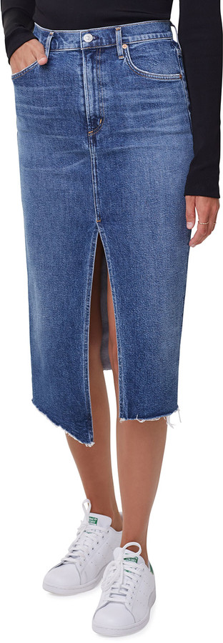 Citizens of Humanity Aubrey Front-Slit Denim Maxi Skirt