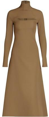 A.W.A.K.E. Mode Crepe Cutout Turtleneck Dress