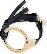 Chloé Leather and brass circle bracelet