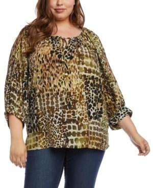 Karen Kane Plus Size Printed Peasant Top