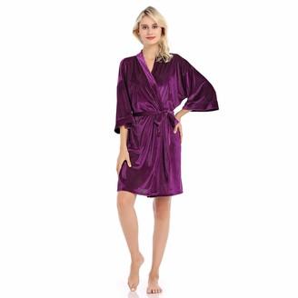 Edahbjnest5mk EDAHB Women's Long Dressing Gown Satin Soft Nightwear Purple