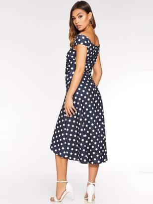 Quiz Knot Front Bardot Dip Hem Dress - Navy/White