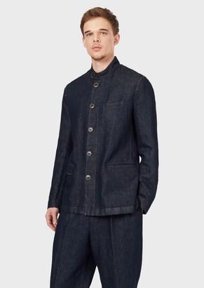 Giorgio Armani Single-Breasted Denim Jacket In Linen And Cotton