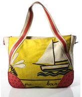 Prada Multicolored Ostrich Trimmed Abstract Print Zippered Tote Bag