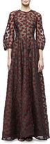 Lela Rose 3/4-Sleeve Leaf-Embroidered Gown, Black/Crimson