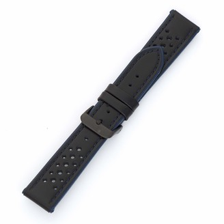 Hadley Roma MS-755 Black 22mm Hadley-Roma Men's Genuine Calfskin Leather Watch Band