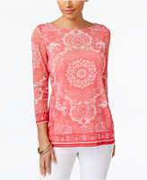Charter Club Sheer Medallion-Print Top, Created for Macy's