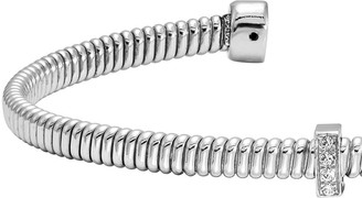Italian Silver Textured Crystal Flexible Cuff