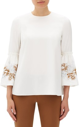 Lafayette 148 New York Roslin Floral Silk Bell-Sleeve Blouse