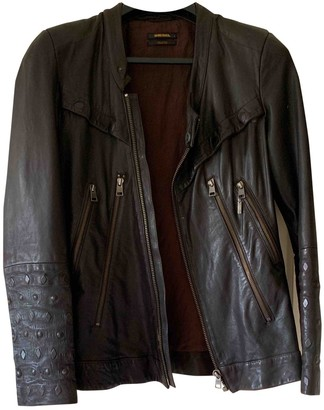 Diesel Black Gold Brown Leather Jacket for Women