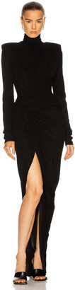 Alexandre Vauthier Ruched Long Sleeve Gown in Black | FWRD