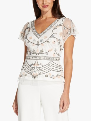 Adrianna Papell Beaded Mesh Floral Top