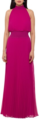 Xscape Evenings Pleated Mock Neck Chiffon Gown