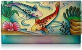 Anuschka Anna By Handpainted Leather Checkbook Wallet/ Clutch,Koi Fish Wallet