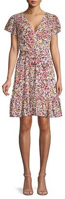 Julia Jordan Floral-Print Faux Wrap Dress