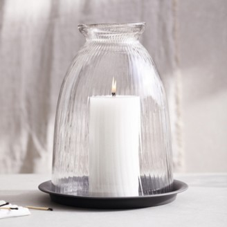 The White Company Ribbed Domed Glass Large Candle Holder With Tray, Clear, One Size