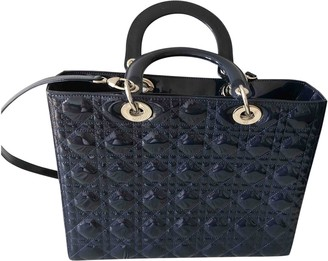 Christian Dior Lady Navy Patent leather Handbags