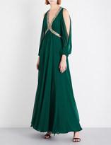 Jenny Packham Cutout bead-embellished silk-chiffon gown