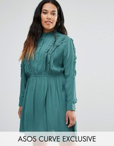 Asos Button Down Skater Dress with Ruffles