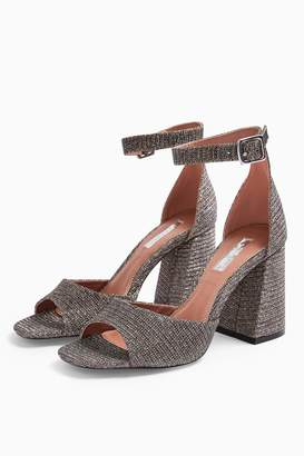 Topshop Womens **Wide Fit Sadie Glitter Block Heels - Multi