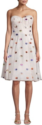 Zac Posen Polka Dot Strapless A-Line Dress