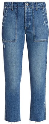 TRAVE Deja High-Rise Utility Taper Distressed Jeans