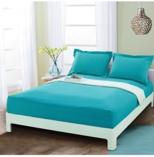 Elegant Comfort Silky Soft Single Fitted Sheet Queen Turquoise Bedding
