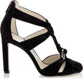 Jimmy Choo KRISSY 100 Black Crushed Velvet Round Toe Sandals with Swarovski Crystal Brooch